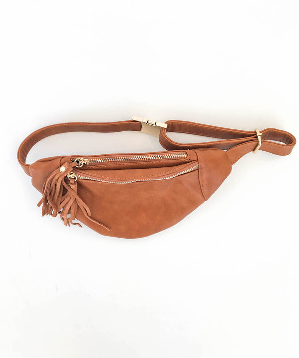 Camel Dbl Zip Clutch
