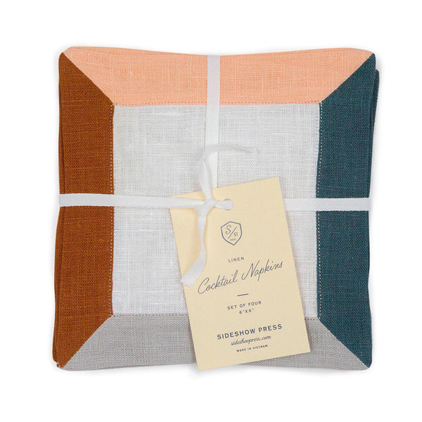 Color Block Linen Napkins Set of 4