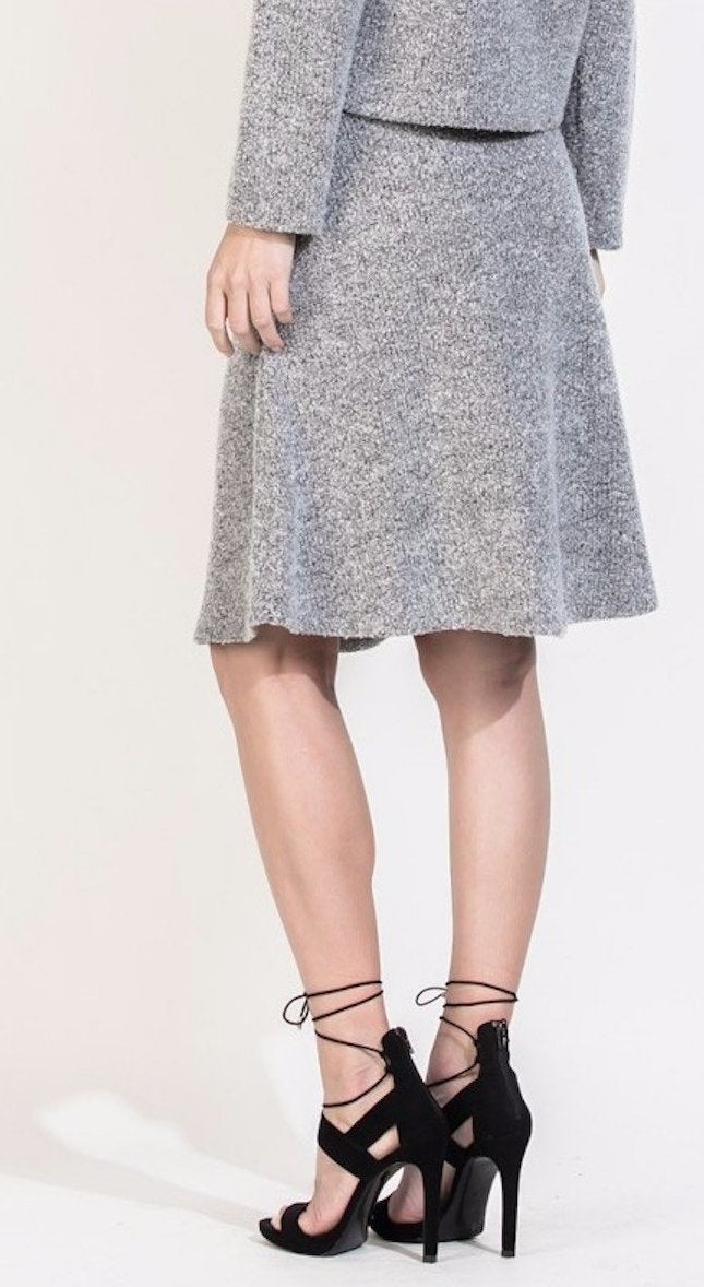 Marled Grey A-Line Skirt