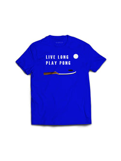 Live Long Play Pong Blue Tee