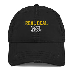 Real Deal Heel Distressed Dad Hat (Yellow/White)