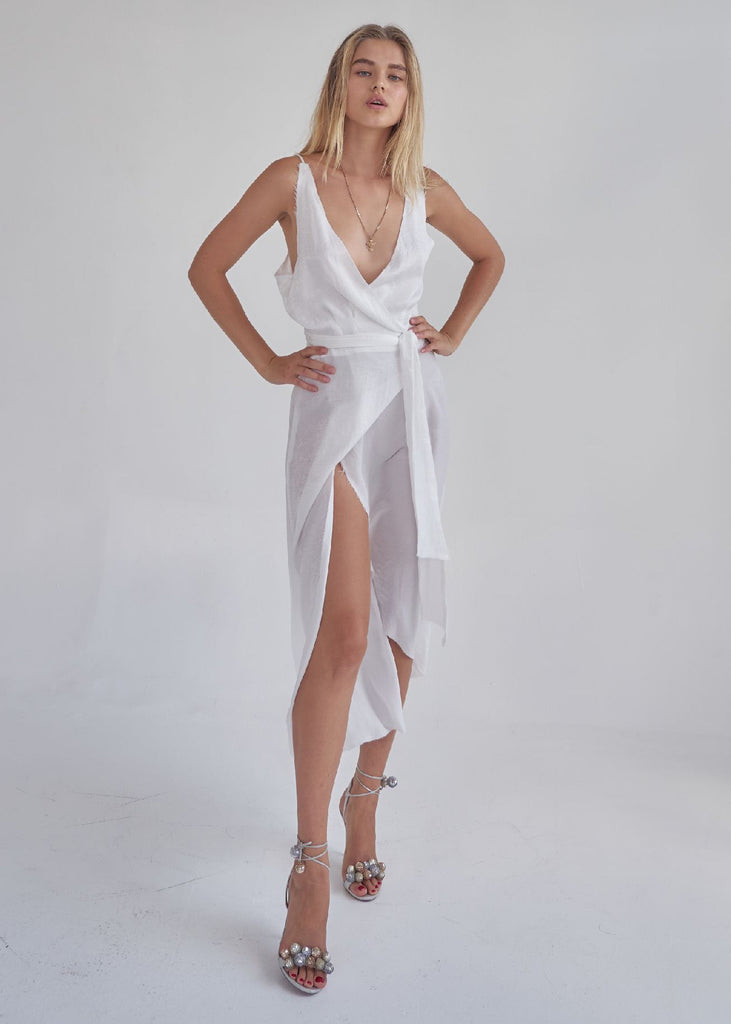 "IVORY ""MISS MONACO"" WRAP DRESS"