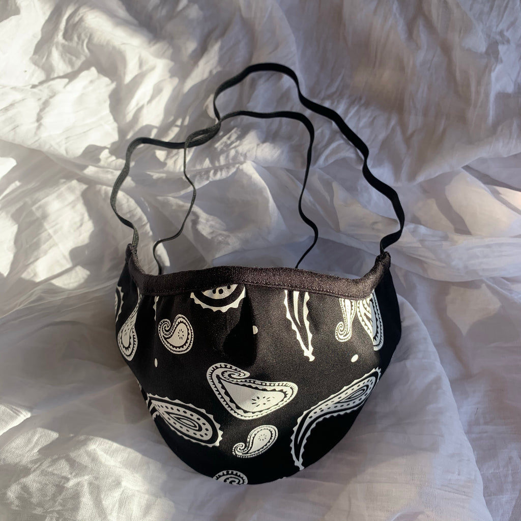 "BLACK ""BANDANA"" 3 LAYER FACE MASK - PACK OF 3"