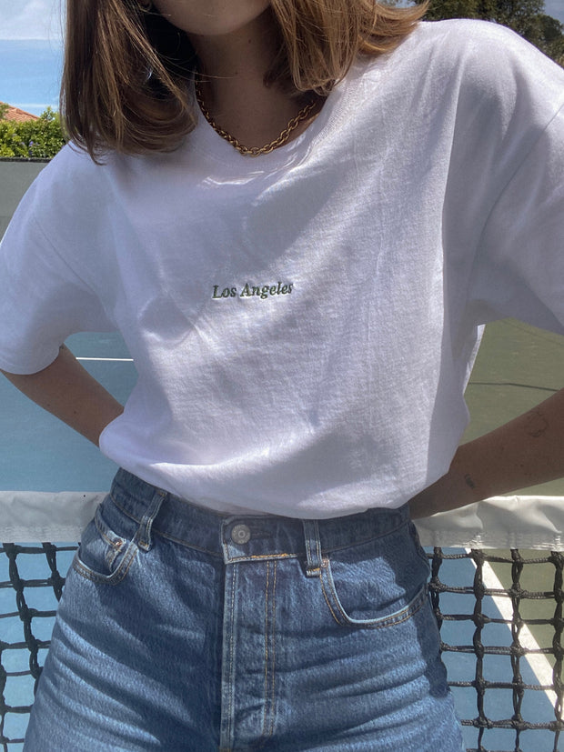 """WHITE """"BEVERLY DR."""" TEE 1"""