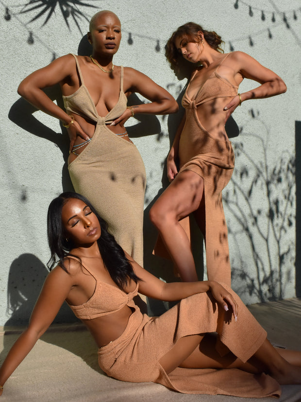 """TAUPE """"ST. LUCIA"""" CUT OUT DRESS 1"""