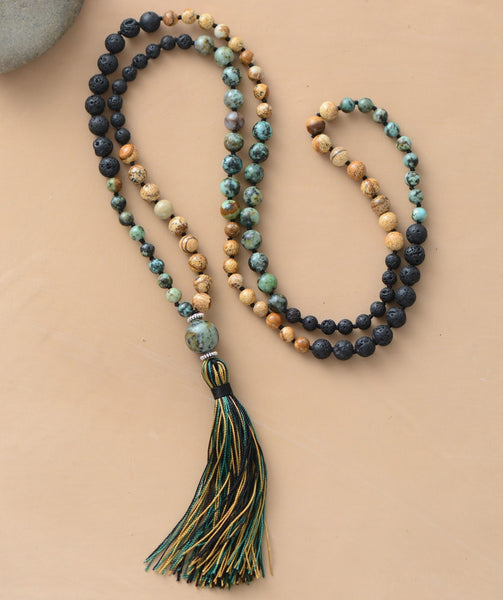 Natural Agate Stone and Lava Beads Tassel Mala Necklace