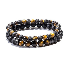 black and gold tiger eye lava bead double bracelet set with black charm.