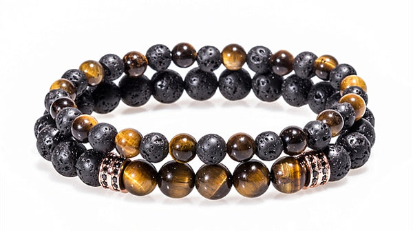 black and gold tiger eye lava bead double bracelet set with rose gold charm.