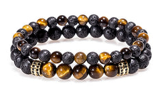 black and gold tiger eye lava bead double bracelet set with gold charm.