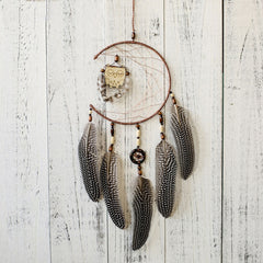 Handmade 1x Dream Catcher With Feathers Wooden Owl Wall Hanging Decoration Ornament Gift Room Home Decor Dropshiping Aug1 p45