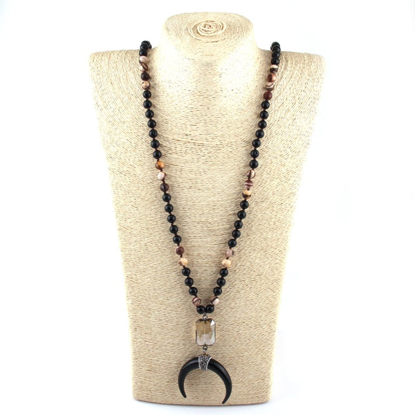 Black Stone Knotted Black Crescent Moon Charm Pendant Necklace
