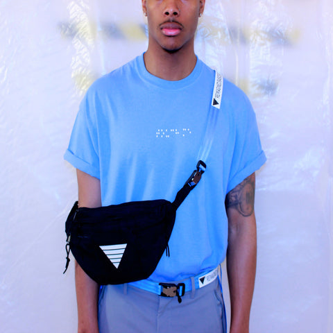 < hold me > Bag in Black/White/Carolina Blue