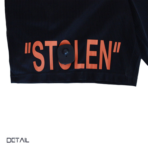 """STOLEN"" Mesh Shorts in Black/Prison Yard Orange"
