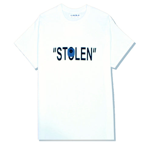 """STOLEN"" T in White (Black/White)"