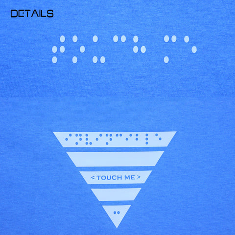 < touch me > in Carolina Blue/Black Braille