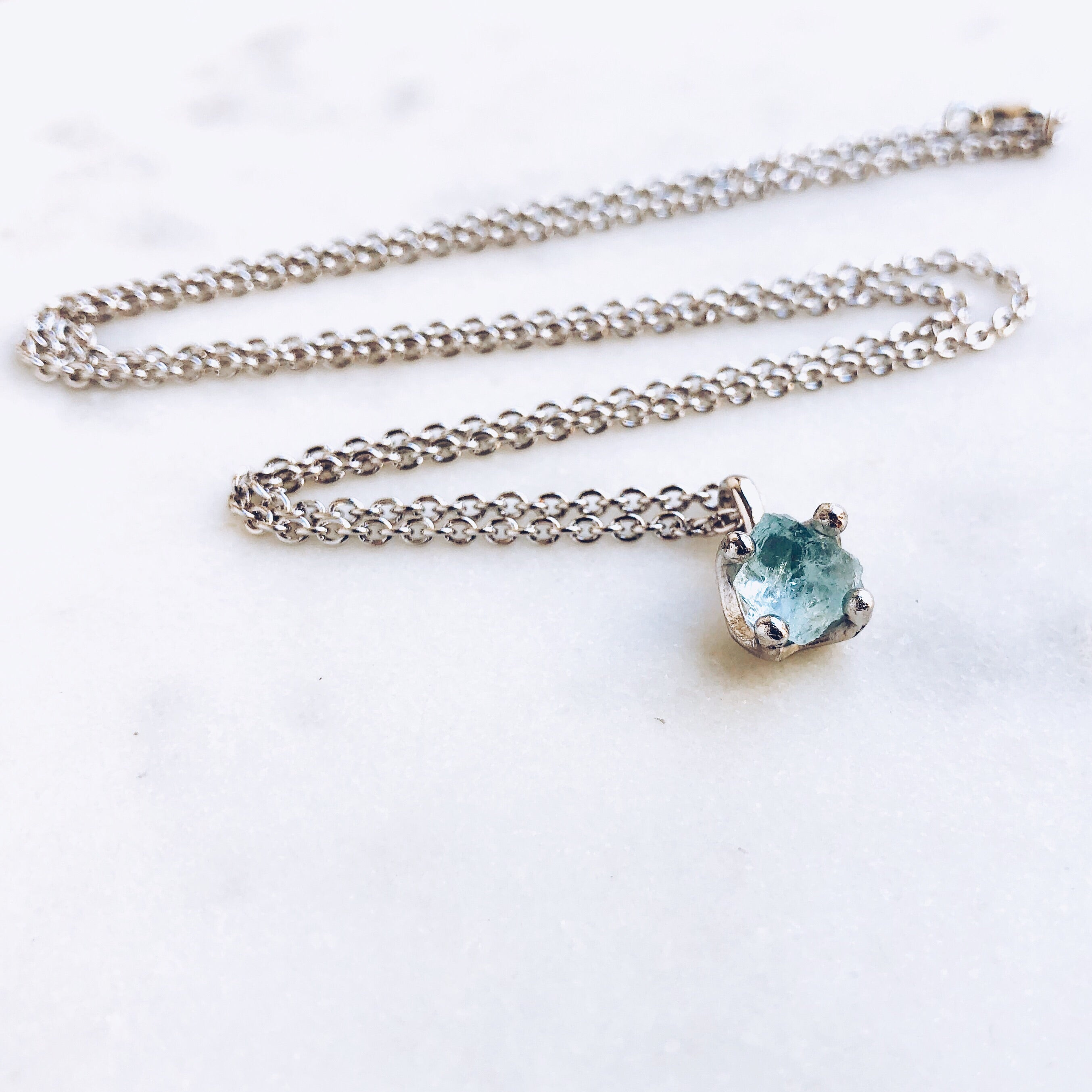 6072838d17d9e Raw Aquamarine Necklace in Silver
