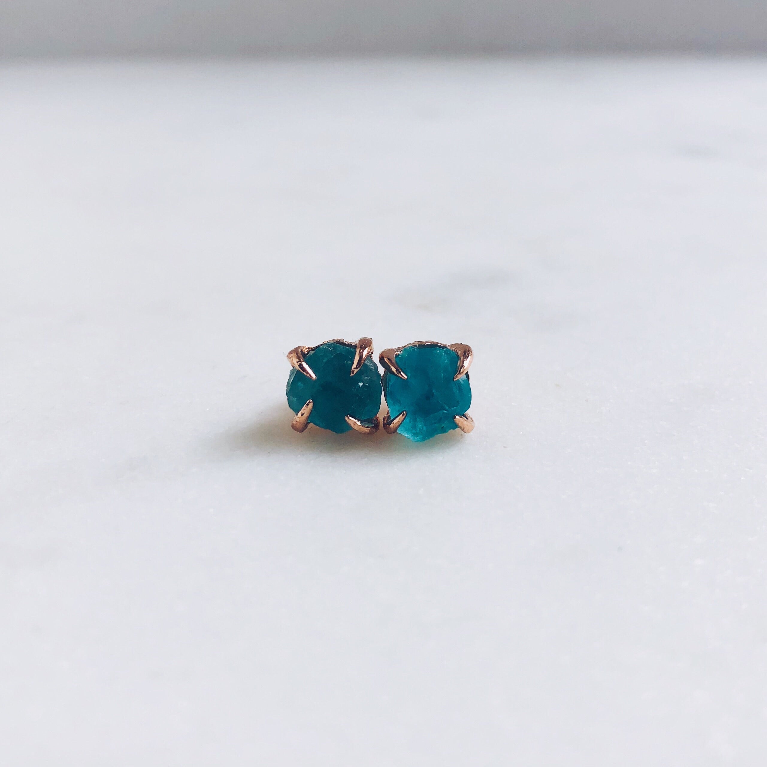 cde755285 Raw Apatite Stud Earrings in Rose Gold - Crystal Of A Kind
