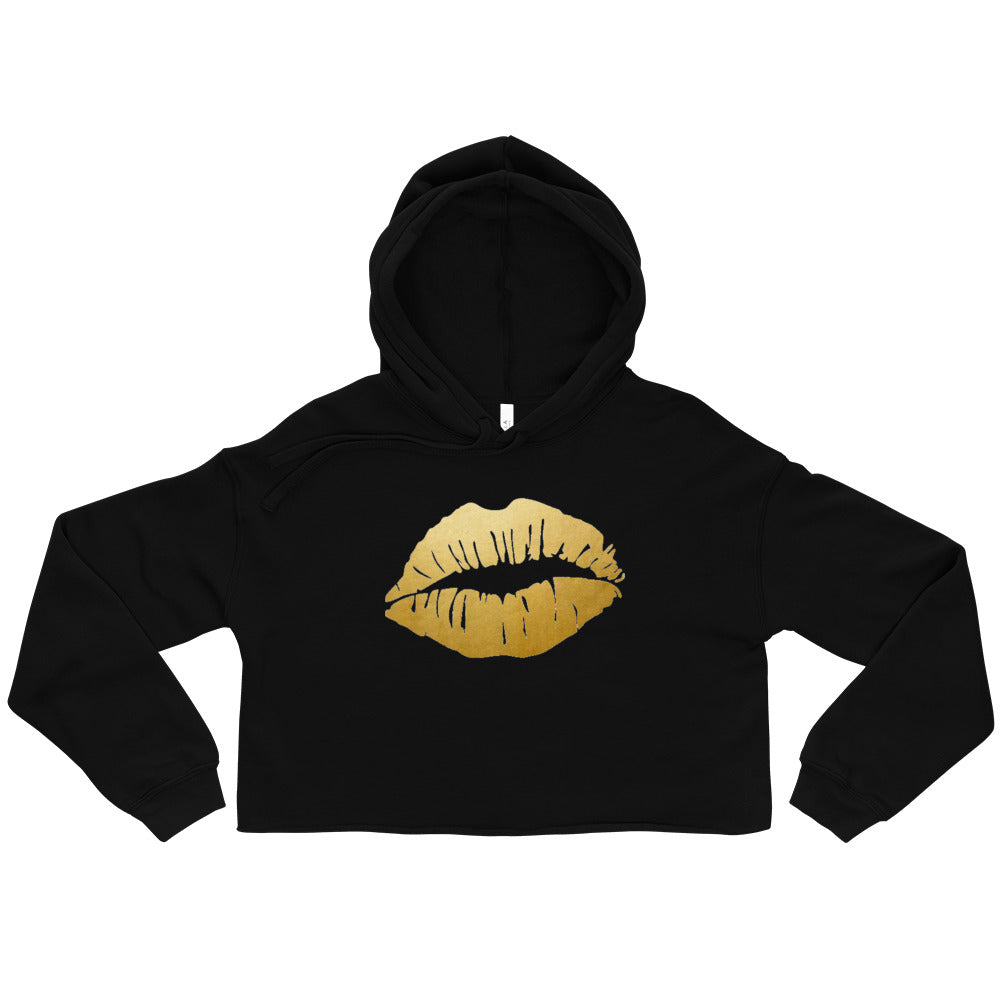 Golden Kisses (Shiny Gold Foil) Crop Hoodie