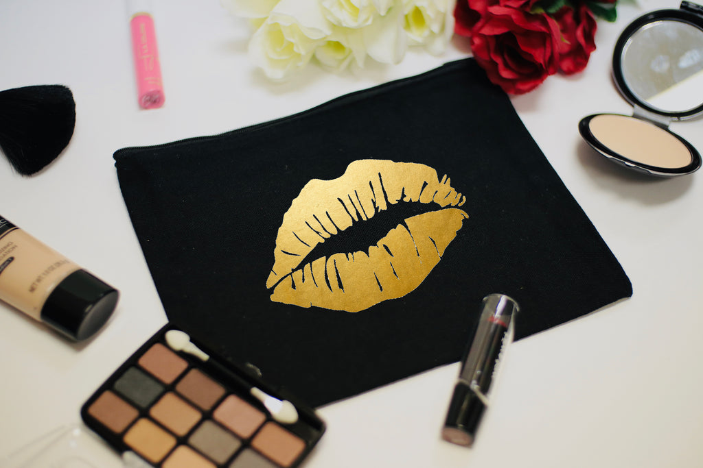 Golden Kiss Cosmetic Makeup Bag