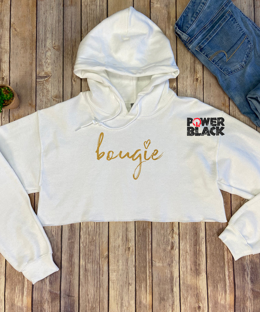 Bougie (Shiny Gold Foil) Crop Hoodie