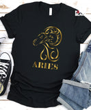 Aries Birthday Shirt (Shiny Gold Foil)