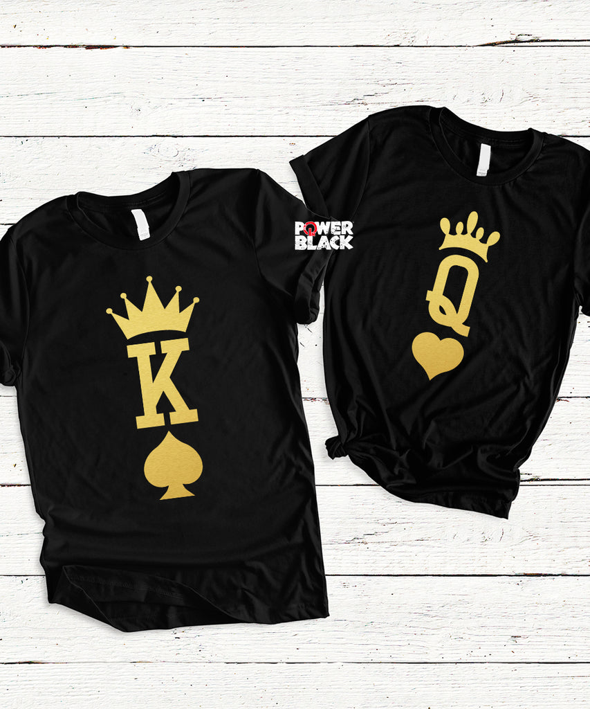 Large Print King of Spades and Queen of Hearts (Shiny Gold Foil) Set