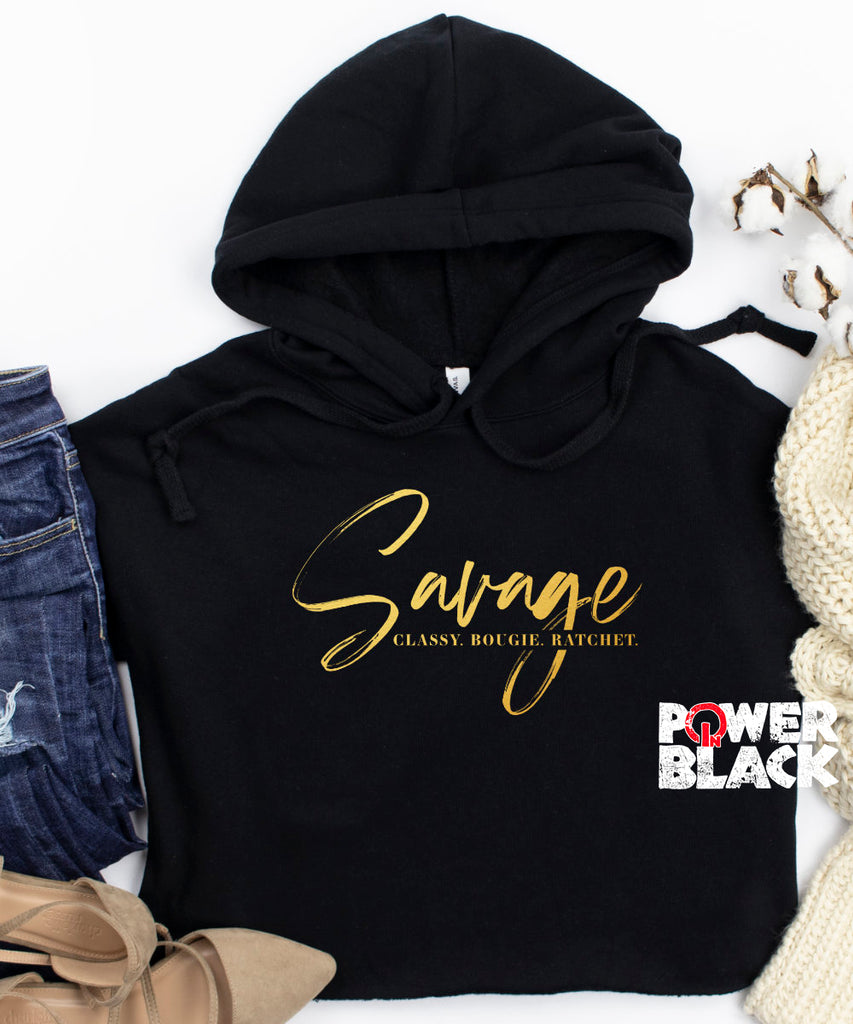 Savage. Classy. Bougie. Ratchet. Crop Hoodie (Shiny Gold Foil)