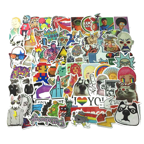 100 PCS Waterproof PVC Stickers- Random-No Duplicates- FREE + Shipping