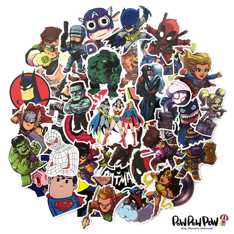 "50 PCS ""Super Heroes"" Waterproof Stickers"