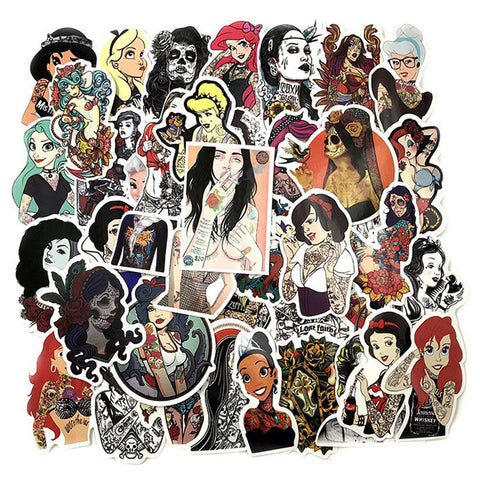 "45 PCS ""Tattooed"" Theme Waterproof Stickers"