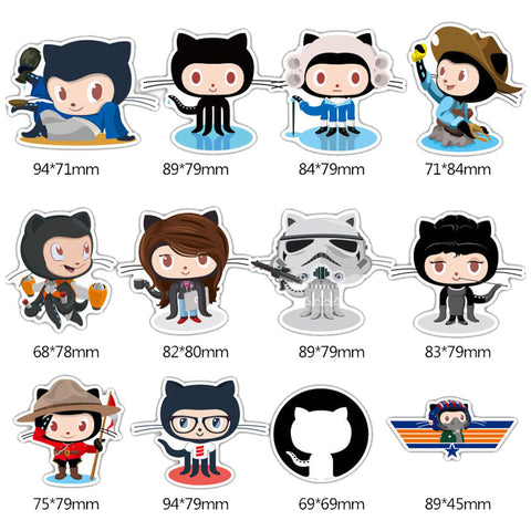 "24 PCS ""OctoCat"" Waterproof Stickers"
