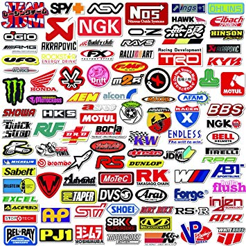 "100 PCS ""Racing Logos"" Stickers"