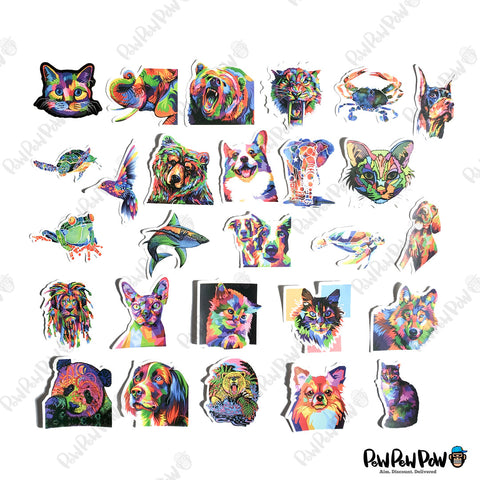 "50 PCS ""Abstract Animals"" Vinyl Stickers"