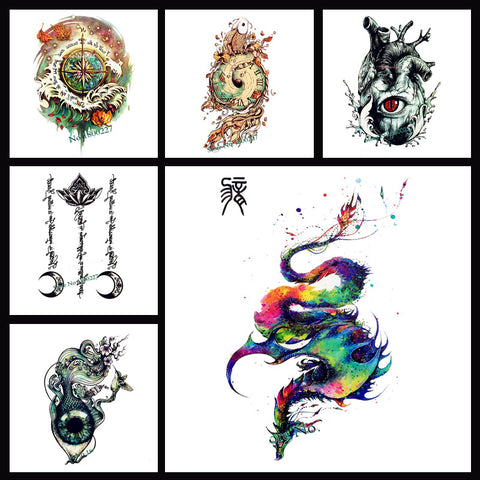 Removable & Waterproof ARTISITC Temporary Tattoo-Large Sheet 21cmx15cm
