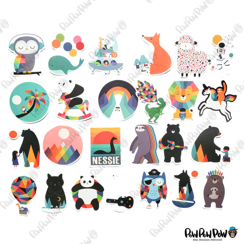 "100 PCS ""Woodland Animals"" Vinyl Stickers"