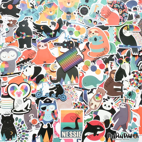 "100 PCS ""Designer Animals"" Vinyl Stickers"