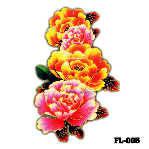 Removable & Waterproof FLOWER-A Temporary Tattoo-Large Sheet 21cmx15cm