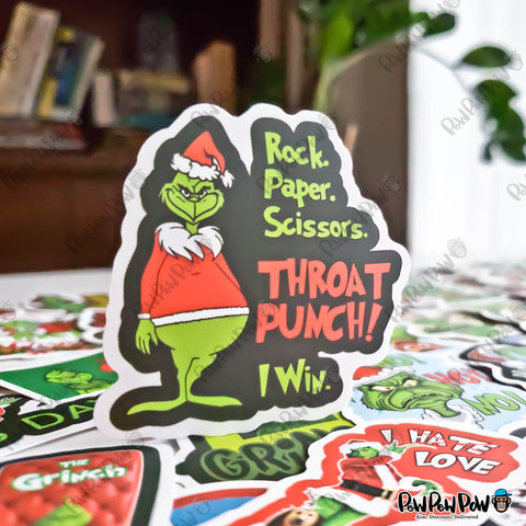 "50 PCS ""Grinch Stole Christmas"" Vinyl Stickers"