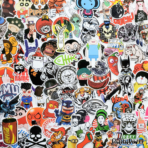 50 PCS Waterproof PVC Stickers- Random-No Duplicates