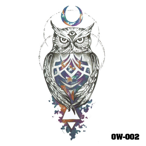 Removable & Waterproof OWL Temporary Tattoo-Large Sheet 21cmx15cm