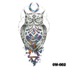 Image of Removable & Waterproof OWL Temporary Tattoo-Large Sheet 21cmx15cm