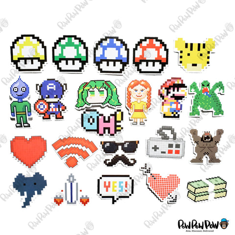 "50 PCS ""Pixel Art"" Vinyl Stickers"