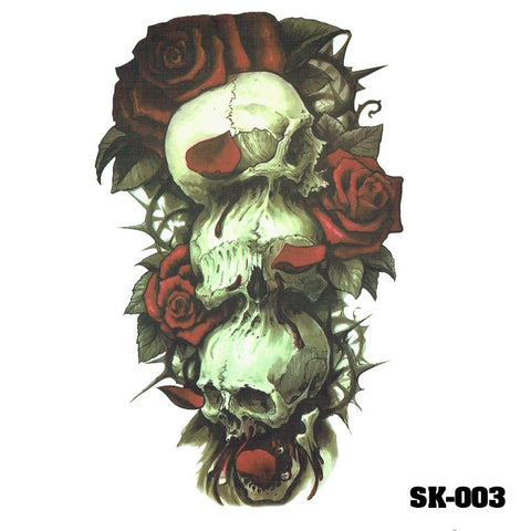 Removable & Waterproof SKULL-A Temporary Tattoo-Large Sheet 21cmx15cm