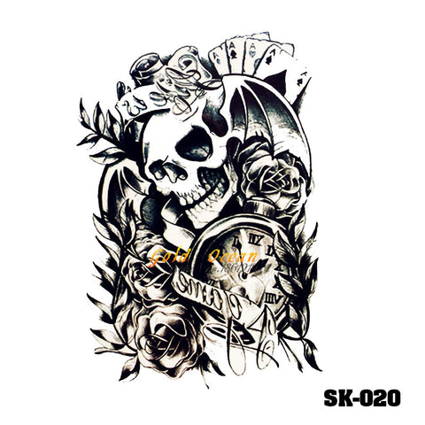 Removable & Waterproof SKULL-B Temporary Tattoo-Large Sheet 21cmx15cm