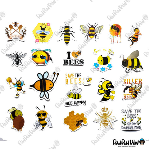 "50 PCS ""Bee"" Vinyl Sticker Pack"