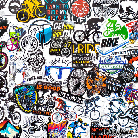 "50 PCS ""Bicycle"" Vinyl Sticker Pack"