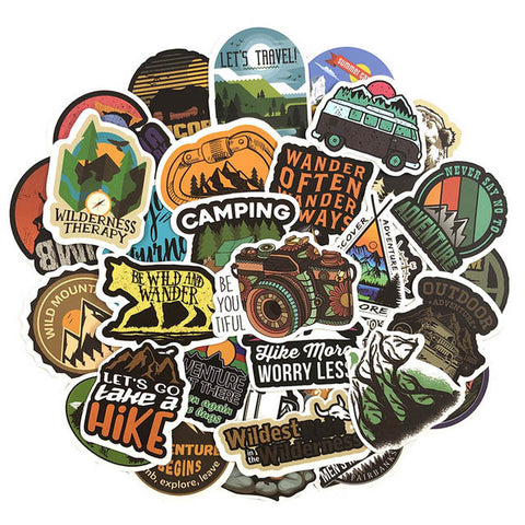 "50 PCS ""Camping"" Stickers"