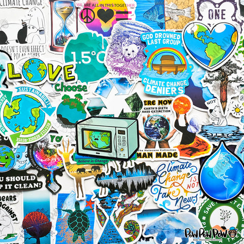 "50 PCS ""Climate Change"" Vinyl Sticker Pack"