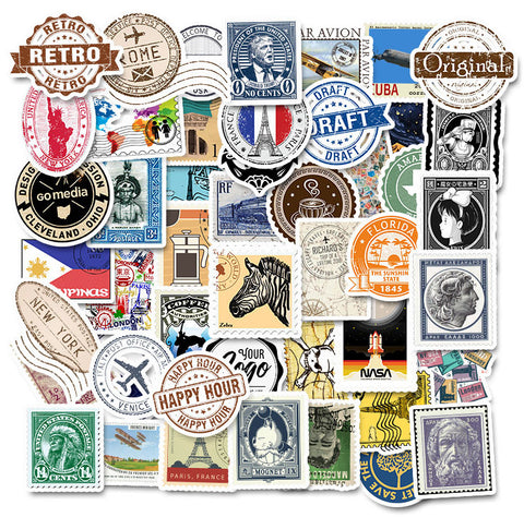 "50 PCS ""Postmark Stamps"" Waterproof Stickers"