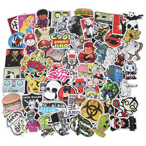 200 PCS Waterproof PVC Stickers- Random-No Duplicates